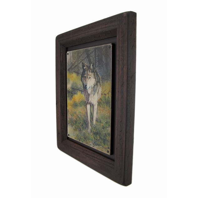 Big Sky Carvers Grey Wolf Wood Frame Wall Art Prints