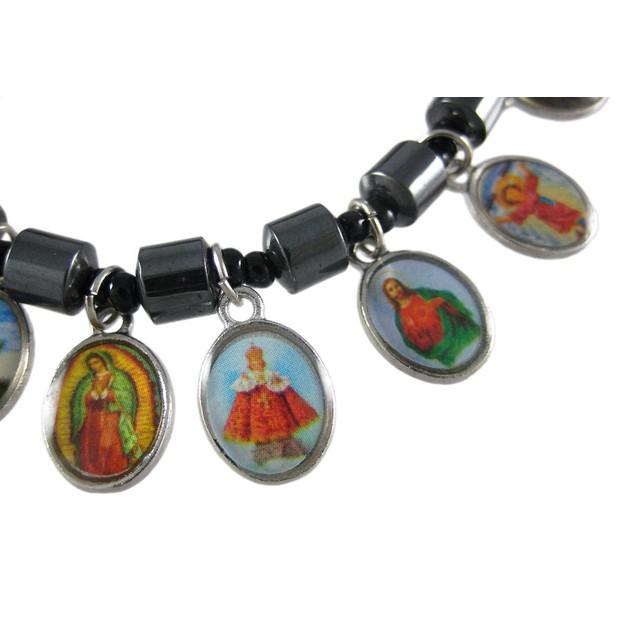 Hematite Bead Stretch Bracelet Dangle Christian Womens Stretch Bracelets