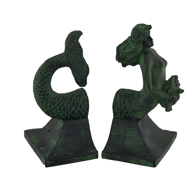 Mermaid Top And Tail Verdigris Finish Bookend Set Decorative Bookends