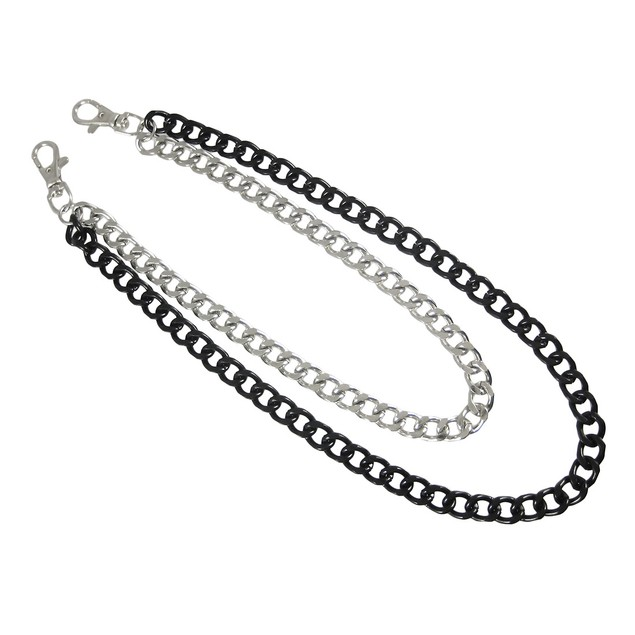 Black / Chrome Plated Double Strand Link Wallet Mens Wallet Chains