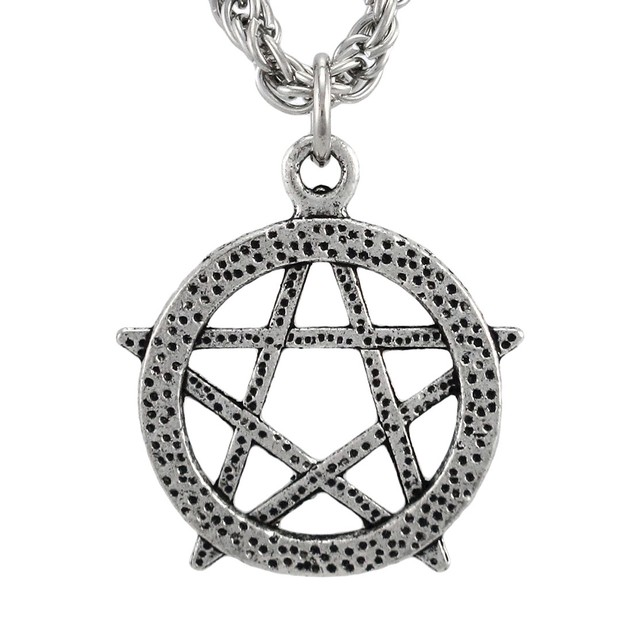 Nickel Plated Pagan Pentacle Pendant W/ 22 Inch Mens Pendant Necklaces