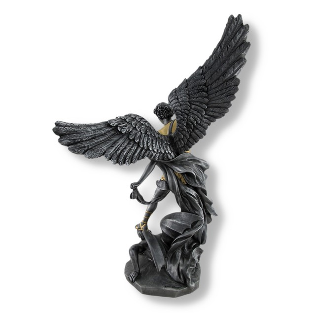 Pewter And Gold Finish St. Michael Defeating Statues