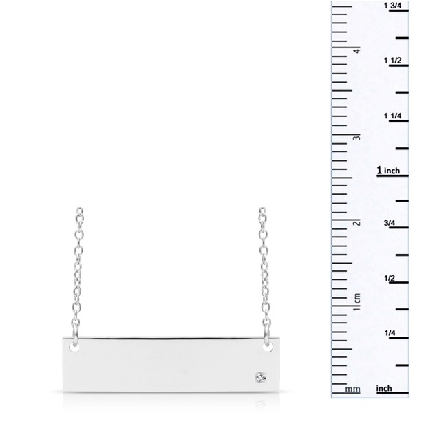 Sterling Silver Diamond Accent Bar Necklace