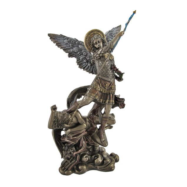 Bronze St. Michael Slaying Lucifer Statue With Statues
