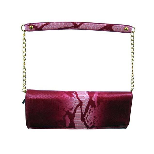 Red Snakeskin Textured Evening Bag/Clutch Gold Womens Evening Handbags