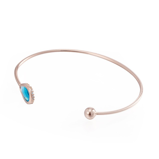 Rose Gold Plated Open Ended Turquoise Bangle