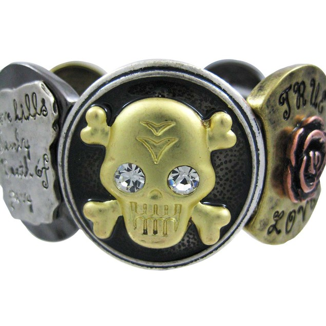 Four-Tone Skull & Crossbones True Love Stretch Womens Stretch Bracelets