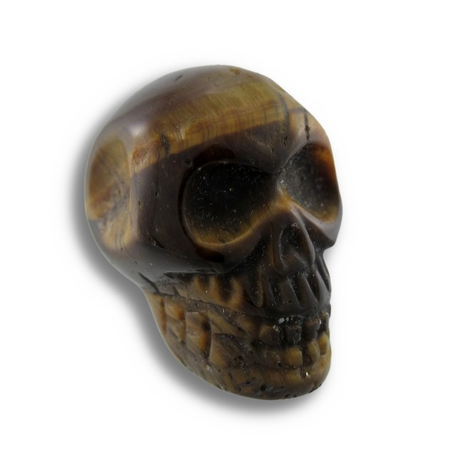 Beautiful Carved Tiger Eye Gemstone Skull 25Mm 1 Loose Gemstones