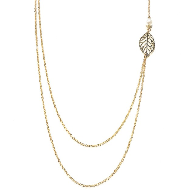 Double Strand Leaf Necklace