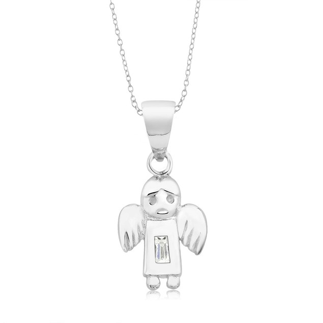 Sterling Silver & CZ Angel Necklace