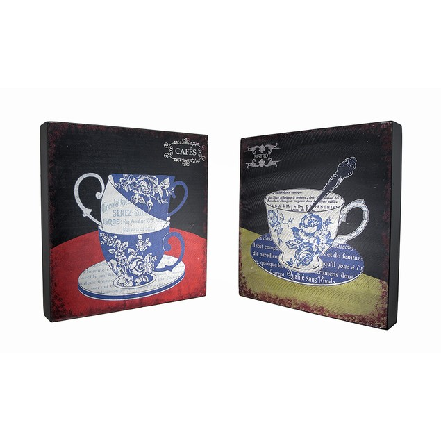 Set Of 2 Floral Toile Tea Cup Bistro And Cafe Decorative Plaques