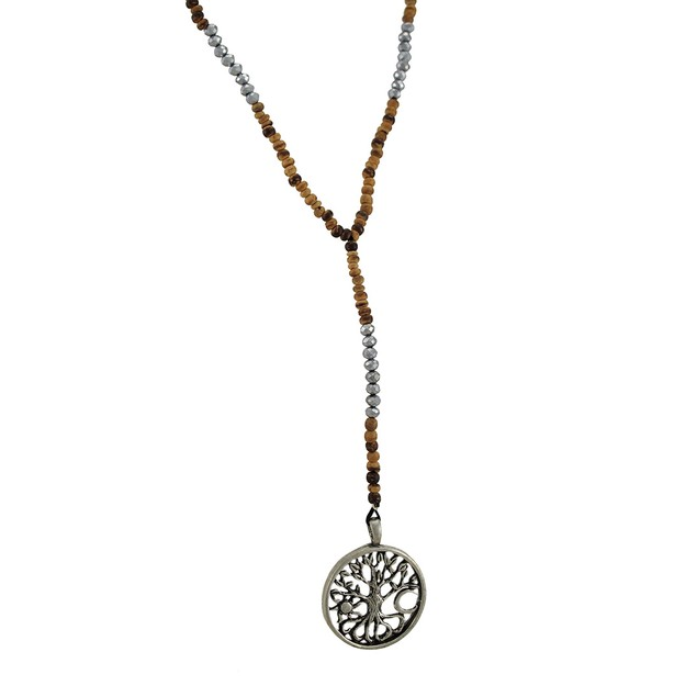 Tree Of Life Wood And Silver Bead Y Necklace Mens Pendant Necklaces