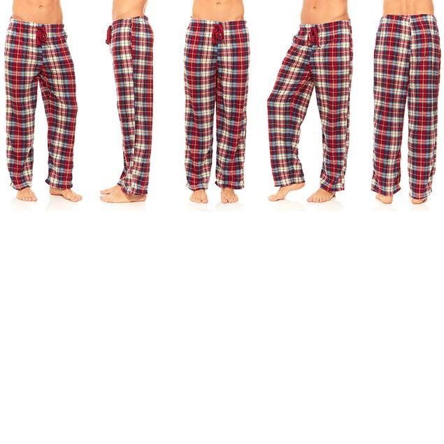 Men's Plaid Fleece Pajama Lounge Pants (M-XL)
