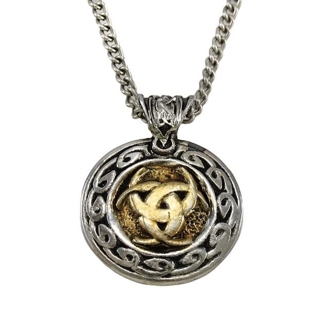 Two-Tone Nordic Moon Valknutr Pendant / Necklace Mens Pendant Necklaces