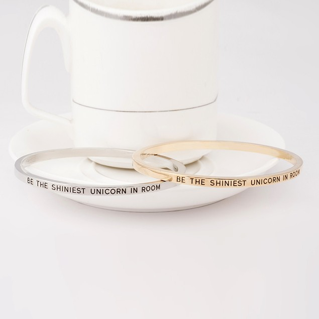 Be the Shiniest Unicorn Engraved Bangle Bracelet - 2 Colors