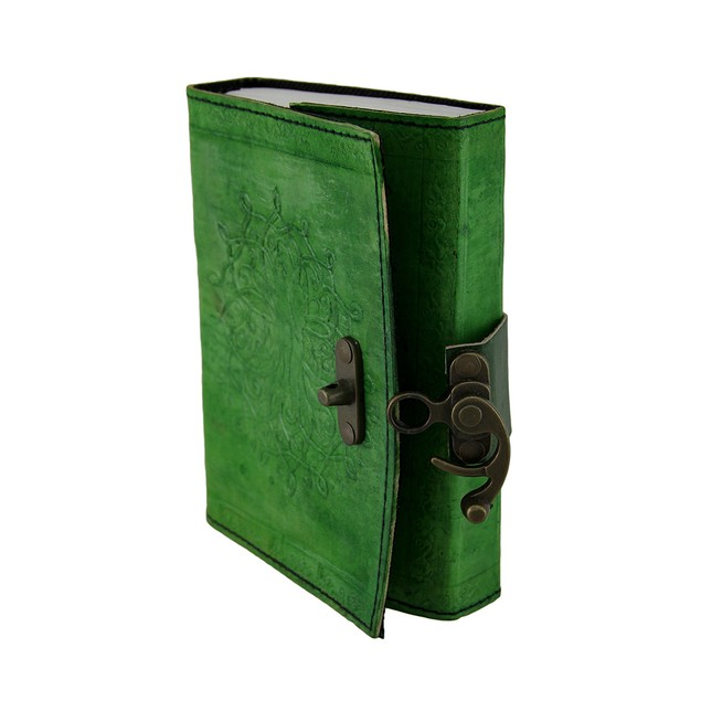 Green Tree Of Life Embossed Leather Bound Journal Art Sketchbooks And
