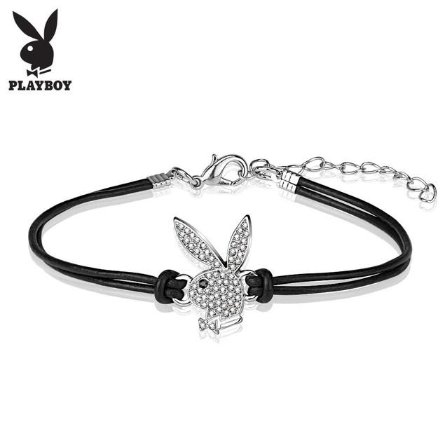 Playboy Bunny Charm Leather and Brass Bracelet