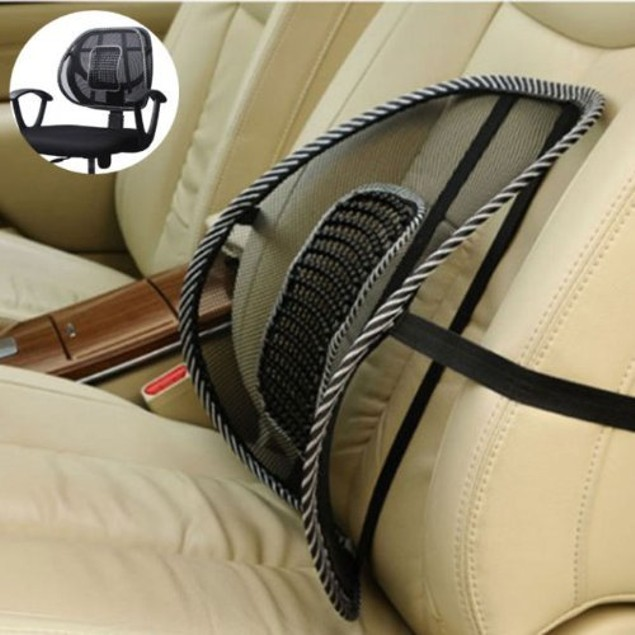 Zone Tech Black Mesh Massage Lumbar Back Seat Chair Posture Support