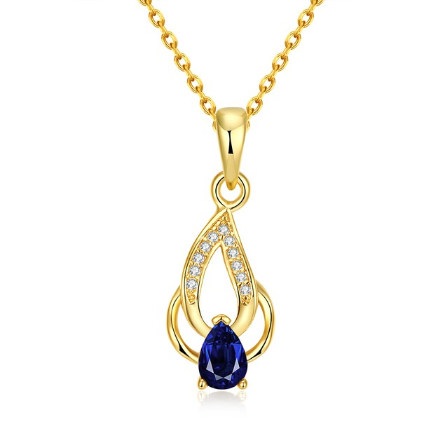 Gold Plated Sapphire Double Pendant Necklace