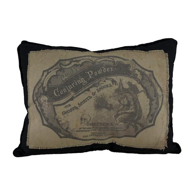 Bethany Lowe Apothecary Label Black Throw Pillow Throw Pillows