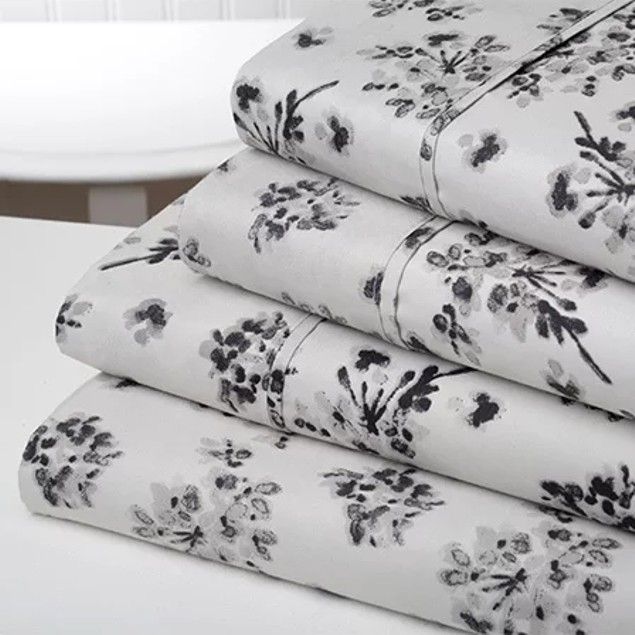 4-Piece Set: Bibb Home Brushed Printed Sheets - Assorted Styles
