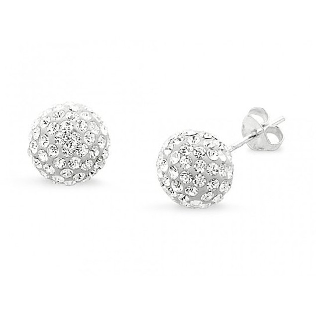 2 CTTW Sterling Silver Crystal Ball Studs