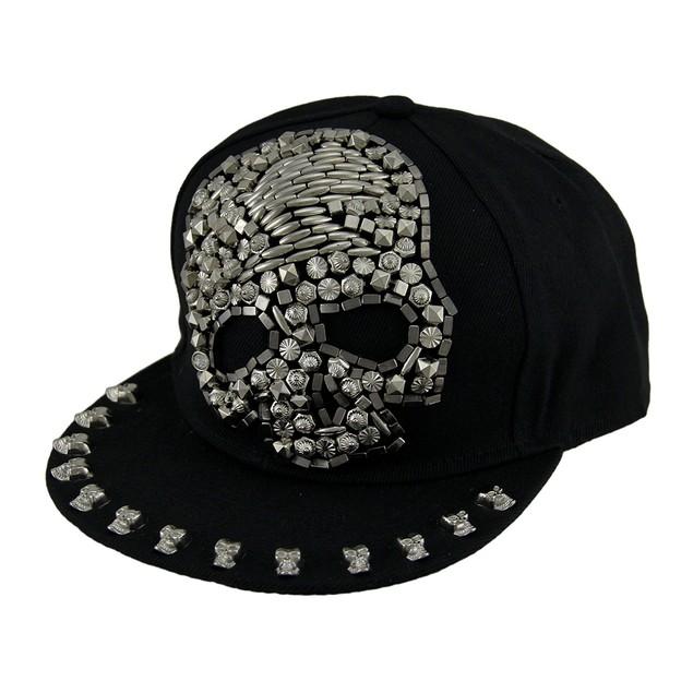 Urban Bling Beaded Skull Black Snapback Hat Mens Baseball Caps