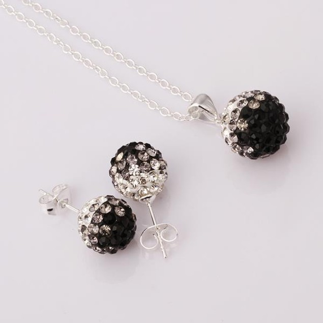 Austrian Stone Multi-Pave Earring Studs and Necklace Set - Onyx Crystal