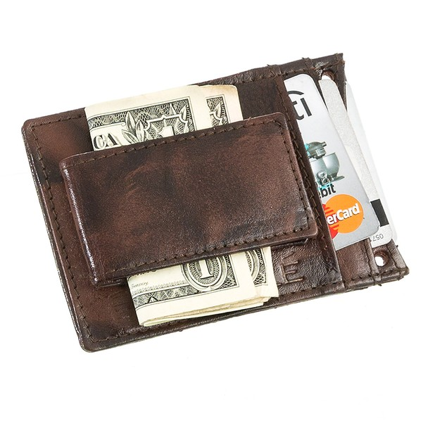 Suvelle Leather Money Clip With Neck Strap