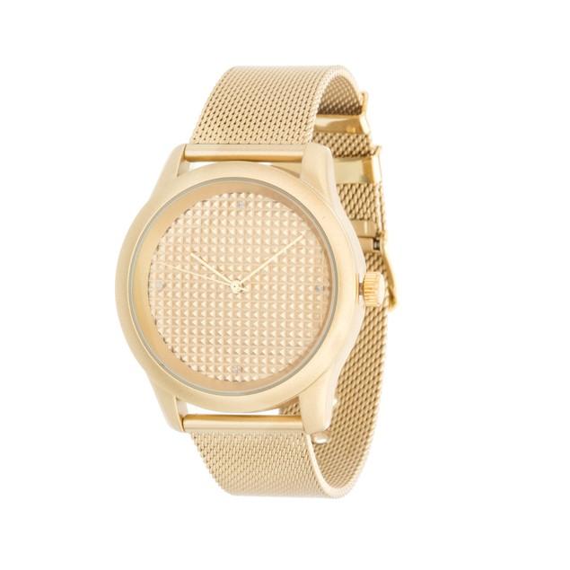 24mm Gold Tone Diamond Accent Watch
