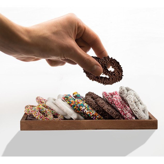 Hand Dipped Fresh Dark Chocolate Covered Pretzels - Romantic Tray of 16