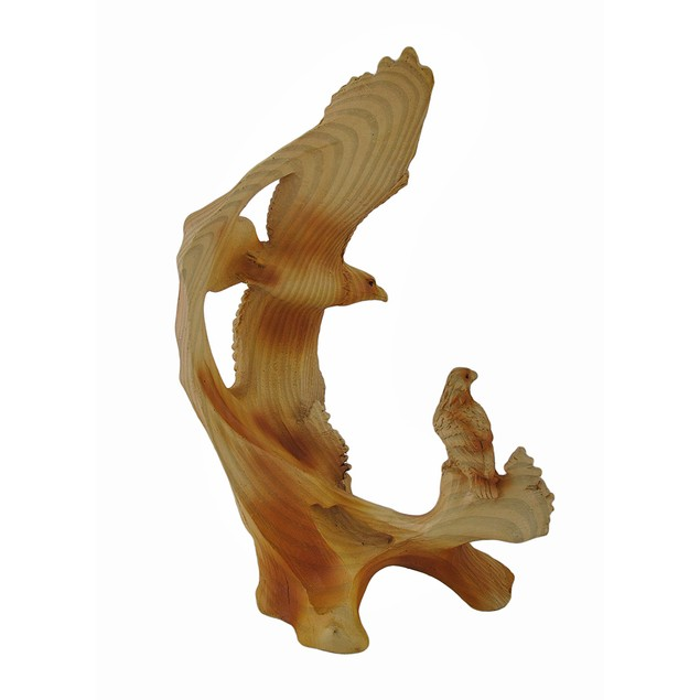 Flying Eagle And Chick Faux Wood Carving Statue Statues