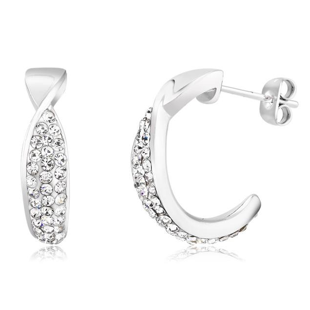 Pave Cubic Zirconia Twisted Hoop Earrings
