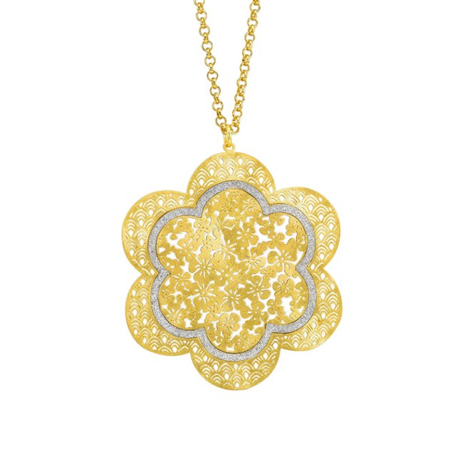 18kt Gold Plated Flower Glitter Necklace