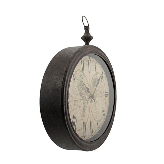 World Map Antiqued Bronze Framed Wall Clock Wall Clocks