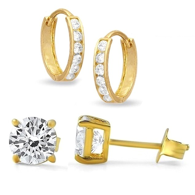 18kt Yellow Gold Hoop And Stud Earring Set