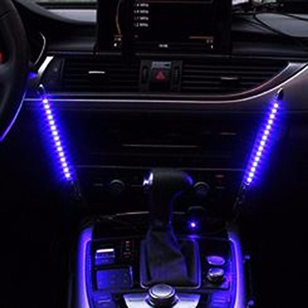 Zone Tech 2x Blue 15 LED Sound Activated Interior Car Music Rhythm Lights
