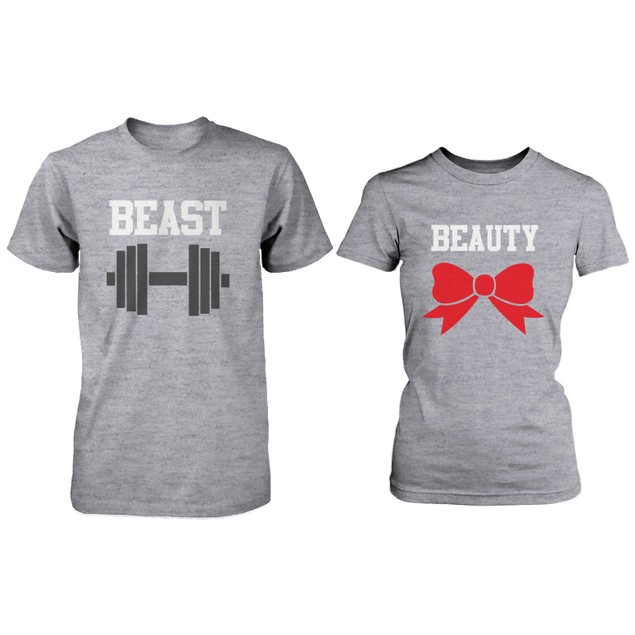 Matching Couple Shirts - Beauty and Beast Grey Cotton Graphic T-shirts