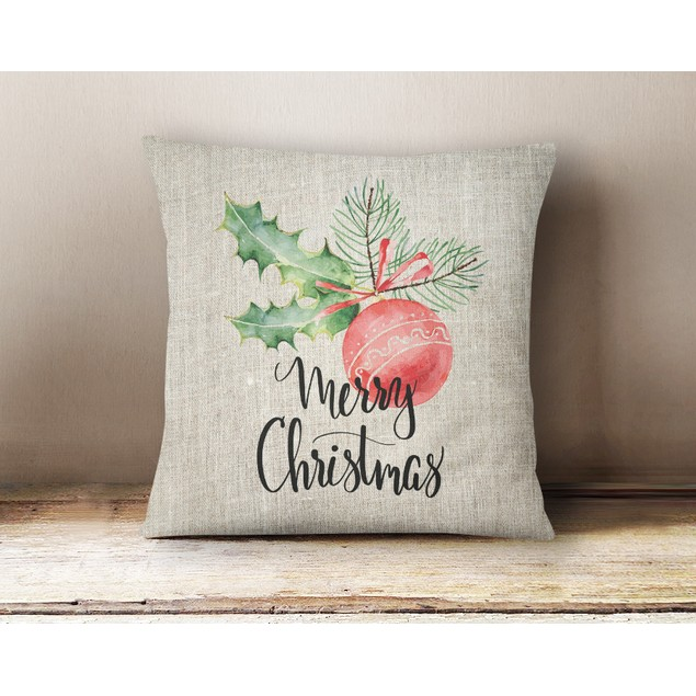 "Large Linen Holiday Pillow  Cover - 16"" x 16"""
