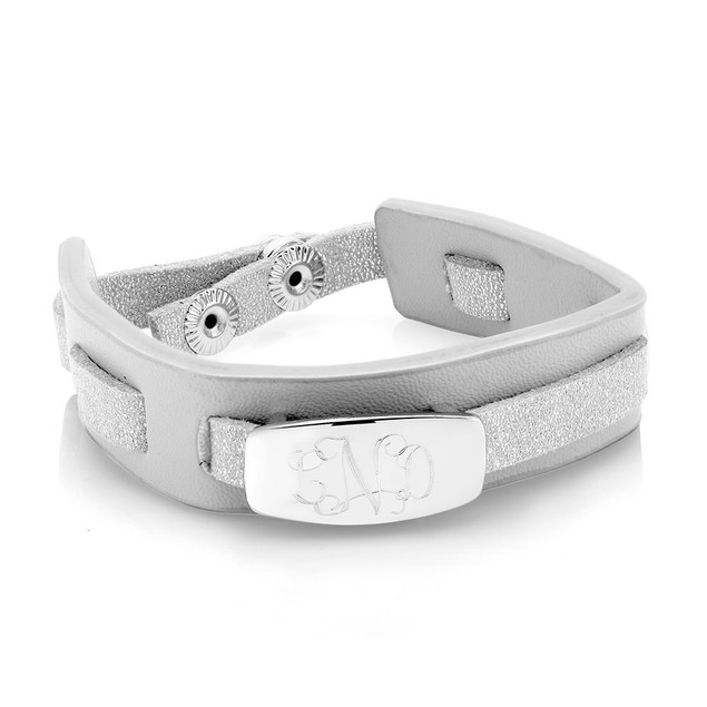Personalized Grey Woven Leather Bracelet with Free Gift!