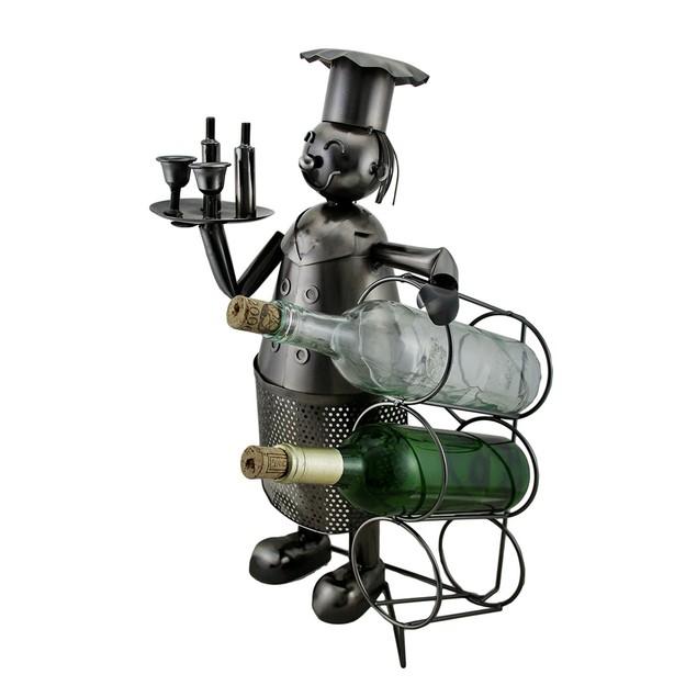 Happy Chef Sculptured Steel 3 Bottle Tabletop Wine Wine Bottle Holders