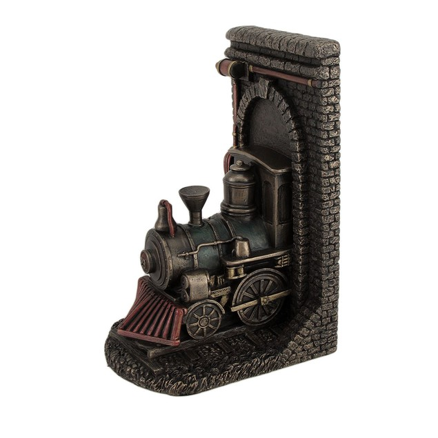 Steampunk Steam Locomotive Bronze Finished Single Decorative Bookends