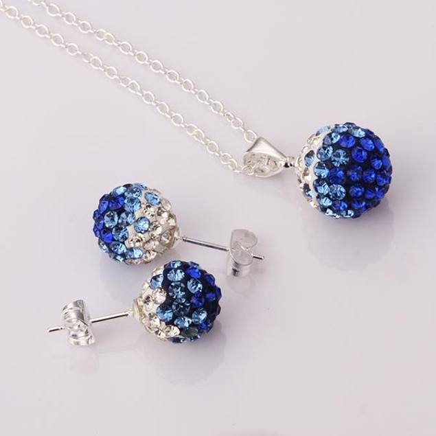 Austrian Stone Multi-Pave Earring Studs and Necklace Set - Blue Crystal