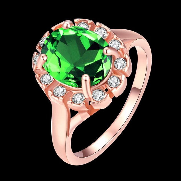 Rose Gold Plated Green Stone Ring