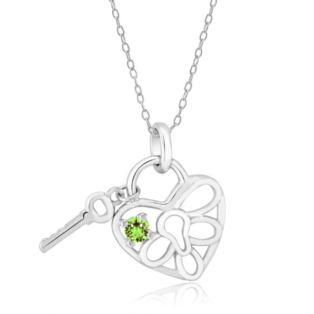 Sterling Silver Birthstone Crystal Heart Lock Necklace - 12 Colors