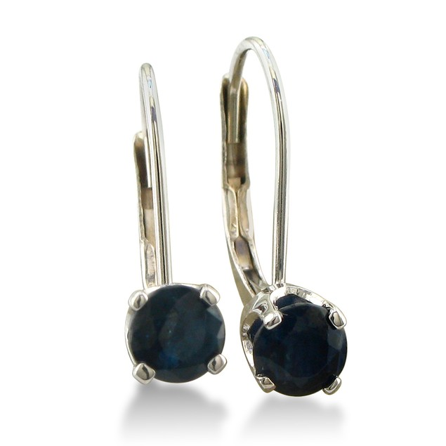 1/2ct Solitaire Sapphire Leverback Earrings, 14k White Gold