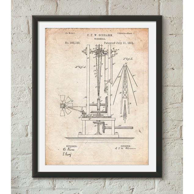 Windmill 1883 Patent Poster