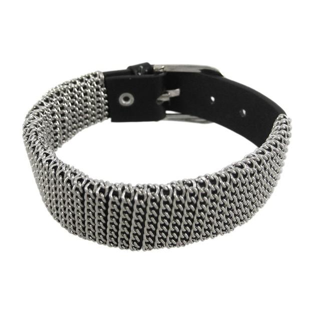 Chrome Chain Wrapped Black Leather Bracelet Mens Leather Bracelets