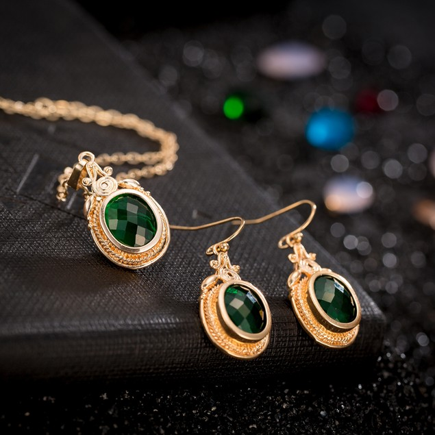 Gold Plated New York Inspired Emerald Necklace & Earrings Set