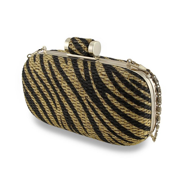 Tiger Striped Basket Weave Evening Clutch Womens Clutch Handbags